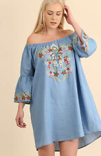 Plus Size UMGEE Mexican Embroidered Peasant Tunic Boho Summer Mini Blue Dress