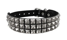 Zeckos Black Leather Chrome Pyramid Studded Dog Collar