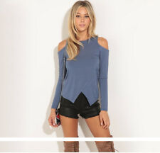 Women Sexy Clothes Long Sleeve Off Shoulder T-Shirt Casual Fitted Shirt Top b