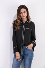 Womens Clothing Button-Front Top Long Sleeve Blouse Lapel Black Shirt USA Stock