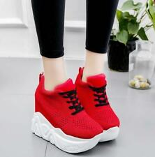 Womens Lace Up Breathable Sport Shoes Athletic Colloege Platform Hidden Heel New
