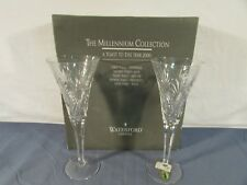 Pair of Waterford Crystal Millennium Collection Health Toasting Flutes