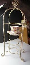 Off White Scroll/Tea Cup & Saucer Stand/Wrought Iron/4-Tier Iron Display Rack