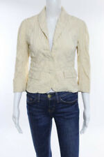 Moschino Yellow Textured 3/4 Sleeve Button Front Jacket Size 2