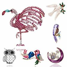 Fashion Crystal Swallow Bird Branch Hollow Owl Brooch Pin Women Costume Jewelry