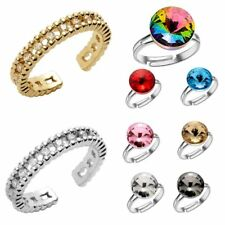 Fashion Punk Adjustable Open Crystal Women Men Couple Band Knuckle Rings Jewelry