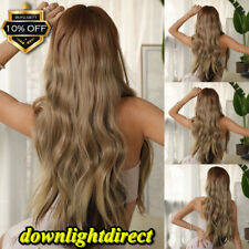 28'' Long Wavy Brown Gold Blonde Ombre Wig Hair Wig Rose Heat Synthetic Hair Wig