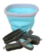 Horse Grooming Kit Collapsible 6 Piece Bucket Brushes Hoofpick Curry Comb