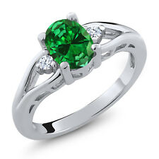 2.18 Ct Green Simulated Emerald White Created Sapphire 925 Sterling Silver Ring