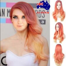 AU Womens Long Wavy Curly Full Hair Wigs Ombre Orange Cosplay Party Wig+Wig Cap