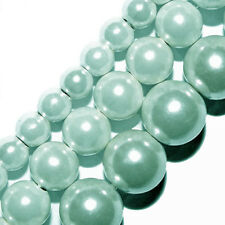 GLASS PEARLS JEWELRY BEADS LT BLUE COLOR 4MM 6MM 8MM FAUX PEARL BEAD STRAND GP15
