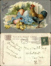 Easter Chicks 1912 Rooster and Chicks With Easter Eggs Tuck Postcard 1c stamp