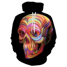 New Women Men 3D Print Colorful Skull Casual Hoodies Pullover Autumn Sweatshirts