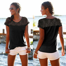 Women's Short Sleeve Lace T-Shirt Ladies Summer Casual Loose Blouse Tops Shirts