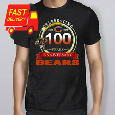 Celebrating Chicago Bears 100 Years Anniversary Black Cotton CLothing S - 3XL