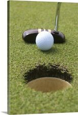 Close-up of putter and gold ball Canvas Wall Art Print, Golf Home Decor