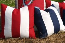 NAUTICAL STRIPE Red / Blue / Tan DOWN FEATHER ACCENT PILLOW - BEACH STRIPED TOSS