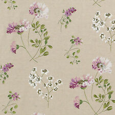 "LINEN COTTON BLEND FABRIC CURTAIN UPHOLSTERY ANTIQUE FLORAL NATURAL OATMEAL 55""W"