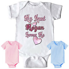 MY AUNT LOVES ME PERSONALIZED BODYSUIT AUNTIE PINK BLUE