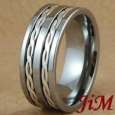 9MM Tungsten Rings Silver Inlay Wedding Bands Size 6-15
