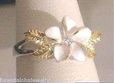 11MM SILVER HAWAIIAN 14K PLUMERIA MAILE CZ RING 5-10.5