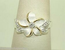 12MM SILVER HAWAIIAN 14K PLUMERIA MAILE CZ RING 3.5-12
