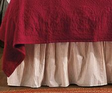 RED WHITE TICKING STRIPE Twin / Queen / King BEDSKIRT : BRIGHTON DUST RUFFLE