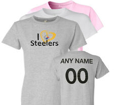Personalized I Love Steelers Ladies, Adult or Youth T-Shirt Pittsburgh Heart