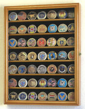 Challenge Coin Display Case Cabinet Rack Holds 49 Coins + Free Engraving Plate