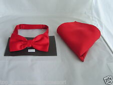 RED Polyester Bow Tie & Hankie Set <With us> The More Sets U Buy>The More U Save