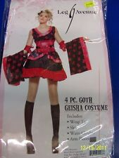 4 pc. Goth Geisha Black Dress Asian Leg Avenue Halloween Sexy Teen Adult Costume