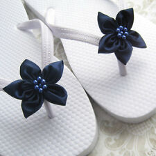 Bridal Wedding Flip Flops for Brides, Bridesmaid - Navy Blue Flowers, rhinestone