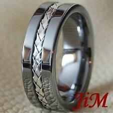 Men's Tungsten Ring Silver Inlay Wedding Band Titanium Color Jewelry Size 6-15