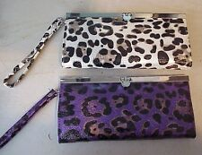 Ladies fashion wallet clutch purse handbag leopard ivory or purple new