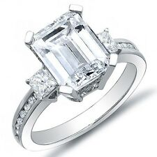 1.57 Ct. Emerald Cut Diamond Engagement Ring w/ Princess & Round H,VVS2 GRA 14K