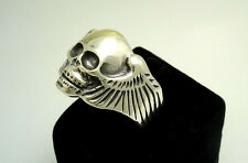 925 STERLING SILVER skull ring Biker jewellery chopper angel wings hell jewelry