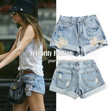 sh2N Celebrity Style Vintage High Waisted Destroyed Ripped Cut Off Denim Shorts