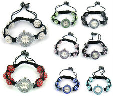 Shamballa bracelet watch crystal disco ball friendship macrame sparkling bead
