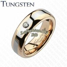 6mm Tungsten Rose Gold IP Brushed Womens Wedding Band W/ Clear CZ SZ 5,6,7,8