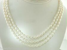 Color Variety 4.5-5mm Tiered 3-Strand Cultured Freshwater Oval Pearl Necklace