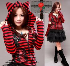 Jrock Visual Kei Rock Punk Harajuku Mix Skull Gothic Tail Meow Stripe Jacket S-L