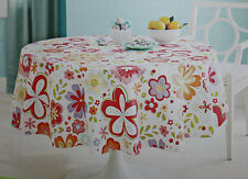 Easter White with Flower Tablecloth 60X84 Oblong 70 in Round Peva Polyester NIP
