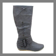 WOMAN SHOES BLACK WESTERN/RIDDING/MILITARY/MOTORCYCLE FLAT HEEL KNEE HIGH BOOTS