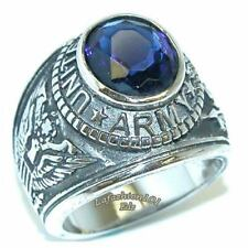 Stainless Steel Wide Band Mens Sapphire CZ ARMY military Ring SIZE 9-13