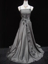 Cherlone Satin Grey Lace Long Prom Ball Wedding/Evening Gown Bridesmaid Dress