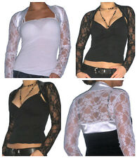 Ladies Top Bolero Lace Shrug Womens Long Sleeve Cardigan Size 8 10 12 14 16 18