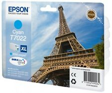 Genuine Epson T7022 / C13T70224010 Cyan XL Printer Ink Cartridge Eiffel Tower