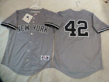 727 MAJESTIC New York Yankees MARIANO RIVERA #42 SEWN Baseball Jersey GRAY New