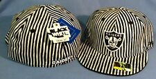 OAKLAND RAIDERS BLACK/WHITE DISTRESSED STRIPES FLAT BRIM  FITTED NFL CAP  REEBOK