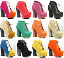 Lace up High Heel Platform Fashion Ankle Boot Bootie Refresh Dolly-02